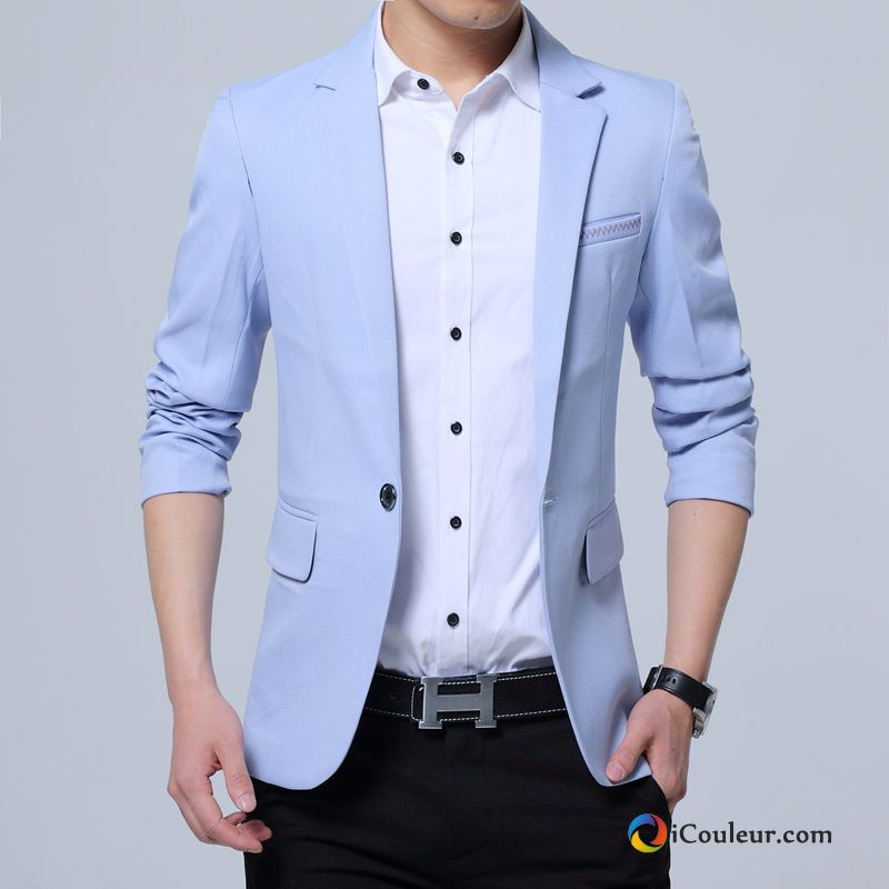 homme printemps slim blazer mariage manteau petit costume tendance bleu. Black Bedroom Furniture Sets. Home Design Ideas