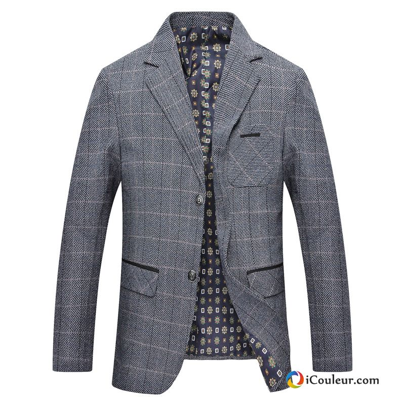 blazer costume manteau carreaux une veste d contract e homme printemps gris. Black Bedroom Furniture Sets. Home Design Ideas
