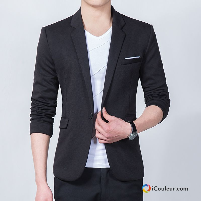 Blazer Costume Manteau Plus De Velours Jeunesse Slim Printemps Homme Noir