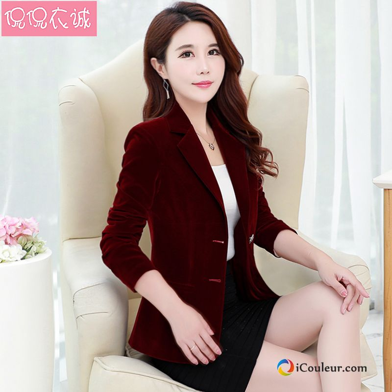 Blazer Slim Printemps Rouge Femme Costume Velours Veste De Costume Neige