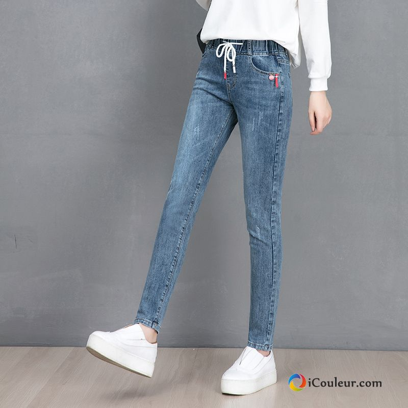 Bleu Étudiant Jeans Baggy Printemps Collants Mince Femme Sarcelle