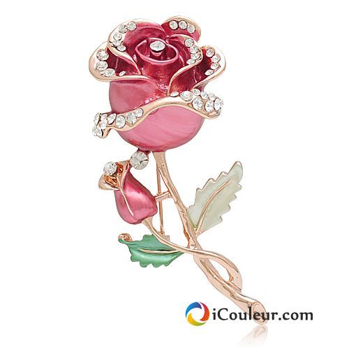 Broche Alliage Pierres De Strass Le Nouveau Rose Mode Femme Rose