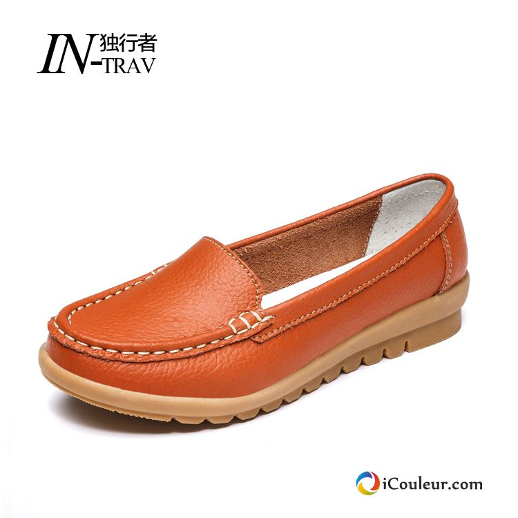 Chaussures Plates Flats Enceintes Plates Printemps Derbies Mocassin Femme Orange