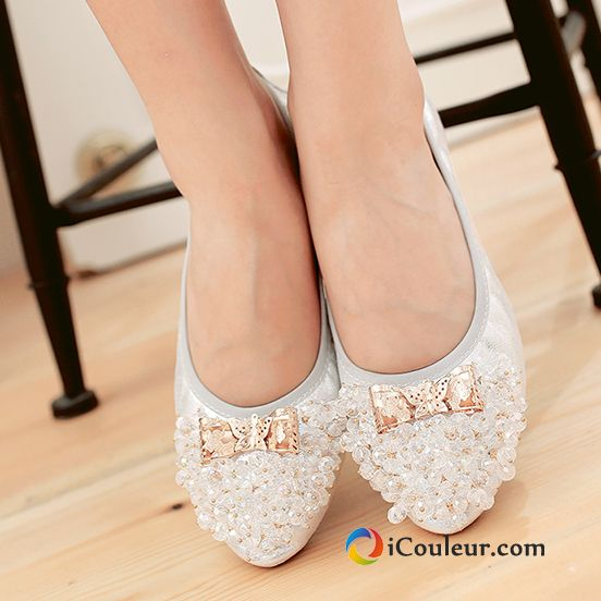 Chaussures Plates Imitation Strass Blanc Mocassin Plates Paillette Cristal Or Femme Blanc