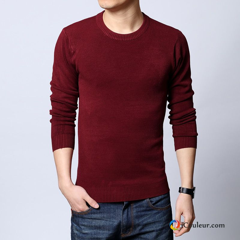 Chemise En Bas Pull Col Rond Mode Homme Hiver Épaissir Rouge