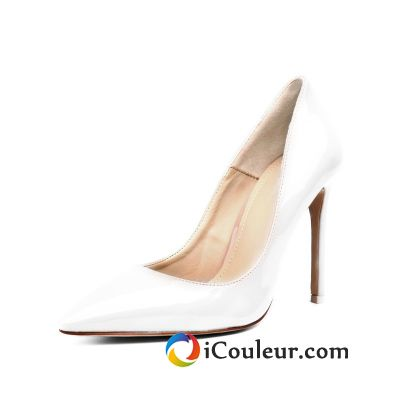 Escarpins Talons Hauts Minces Femme Printemps Super Star Derbies Pointe Pointue Talons Hauts Blanc