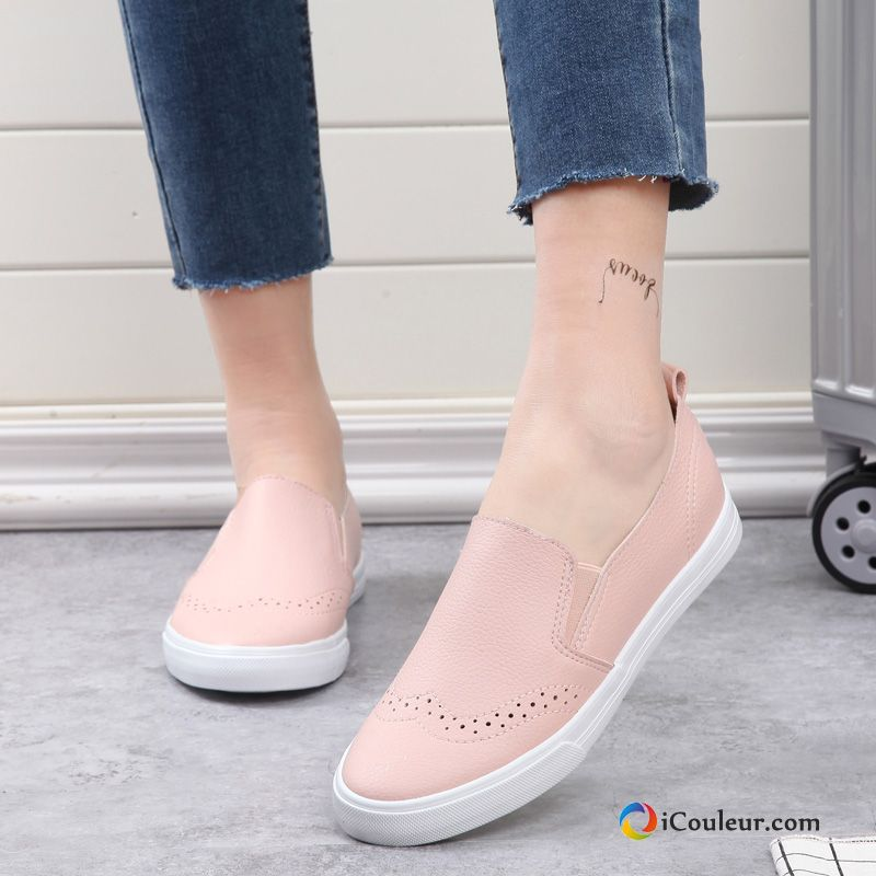 new release wholesale price reputable site Femme Été Derbies Mocassin Respirant Plates Blanc Rose Pas Cher