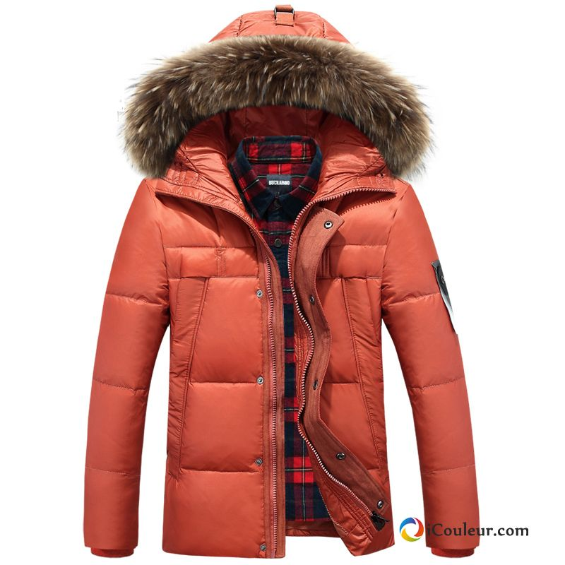 Homme Épaissir Slim Capuche Hiver Simple Doudoune Orange
