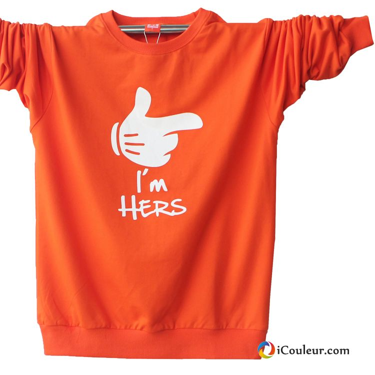 Homme T-shirt Long Chemise En Bas Étudiant Mode Ville Grand Coton Bio Printemps Orange