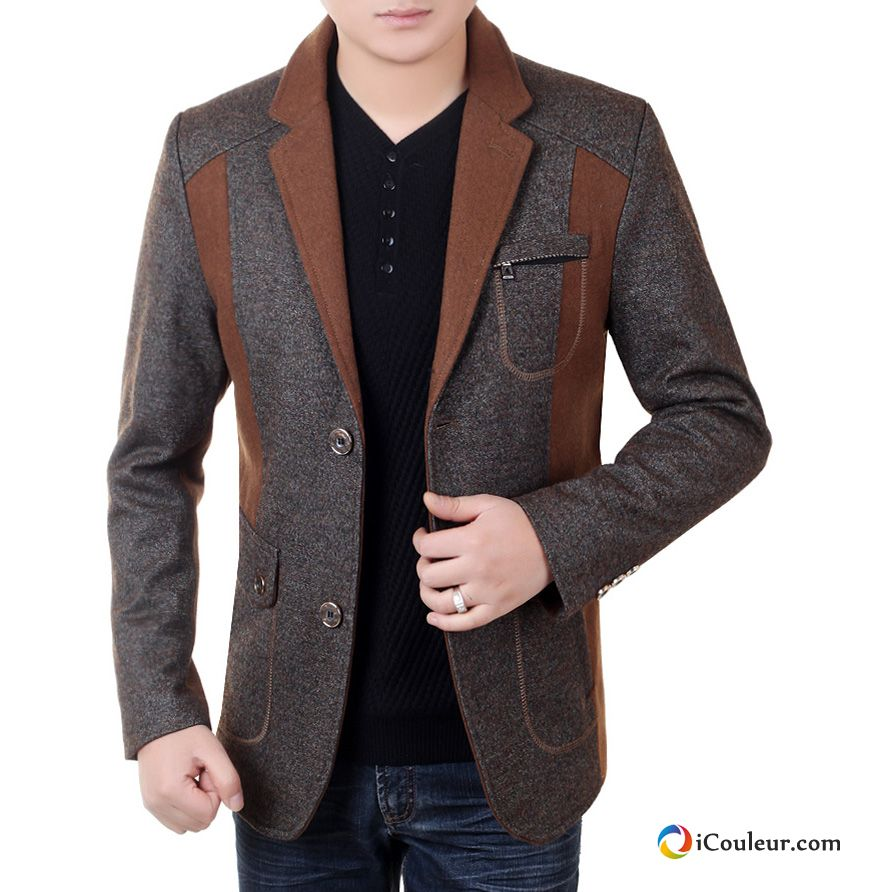 homme veste costume printemps blazer d contract e ge moyen manteau l 39 automne marron. Black Bedroom Furniture Sets. Home Design Ideas