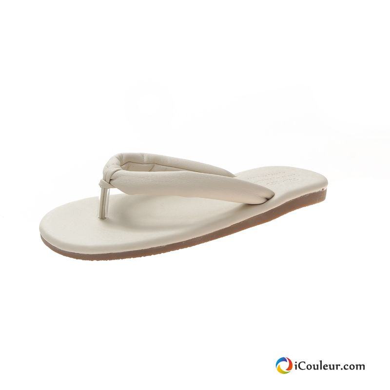 Maison Tongs Chaussons Blanc Outwear Plates Antidérapant Confortable Femme Sarcelle