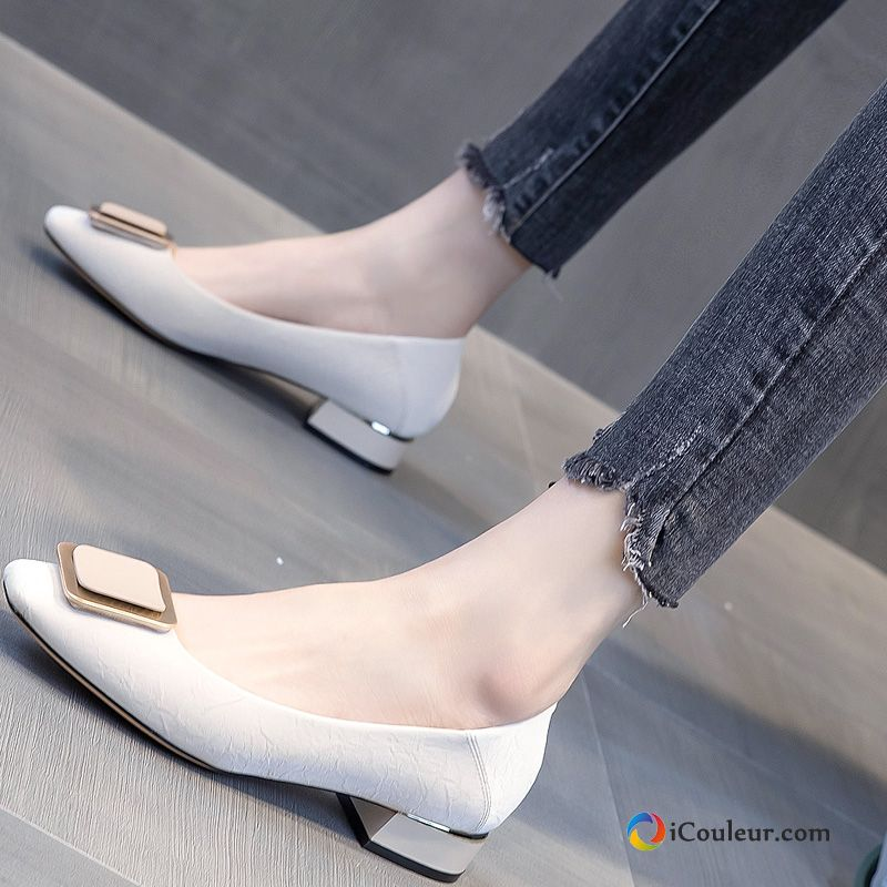 Printemps Blanc Authentique Cuir Véritable Mocassin Femme Plates Peachpuff