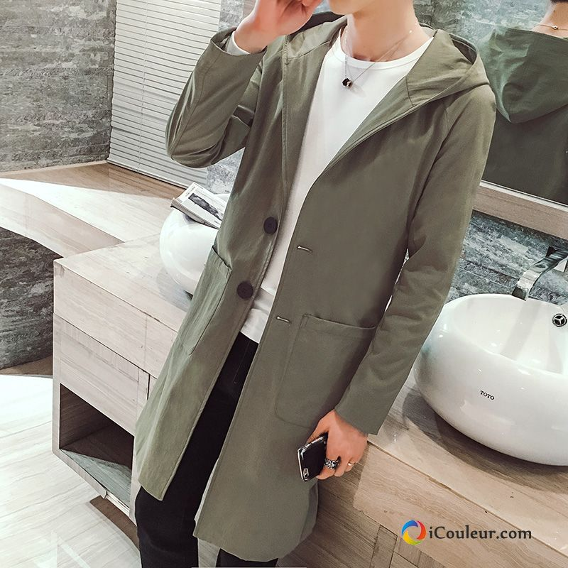 Printemps Les Adolescents Capuche Manteau Homme Slim Coupe Vent Vert