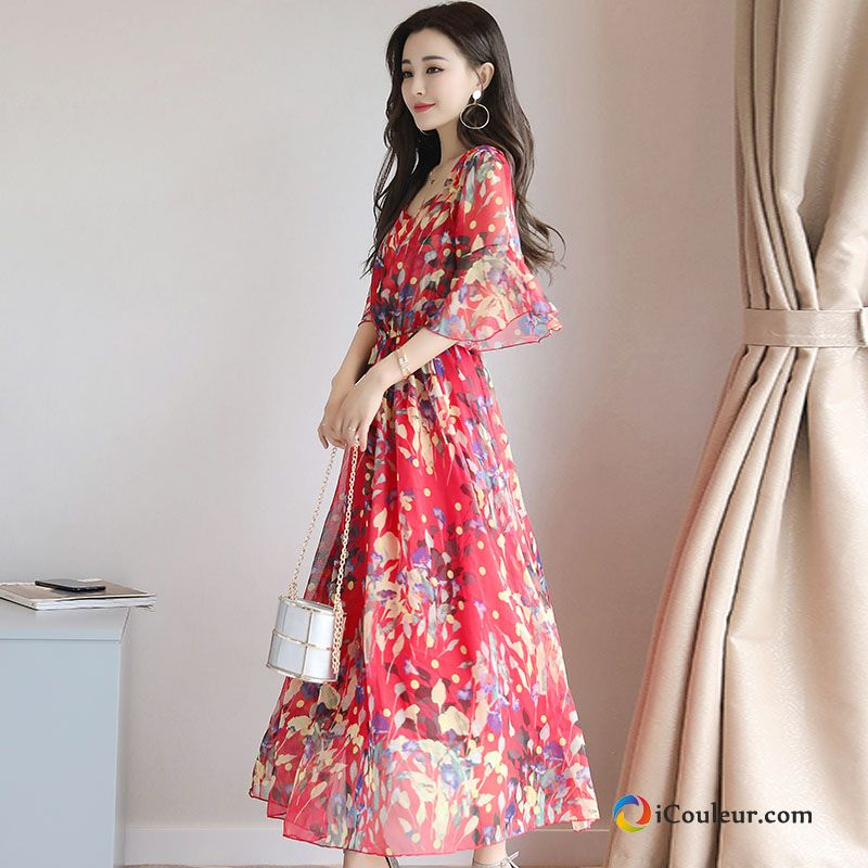 Robe Manche Floral Femme Impression Mince Tendance Dames Rouge