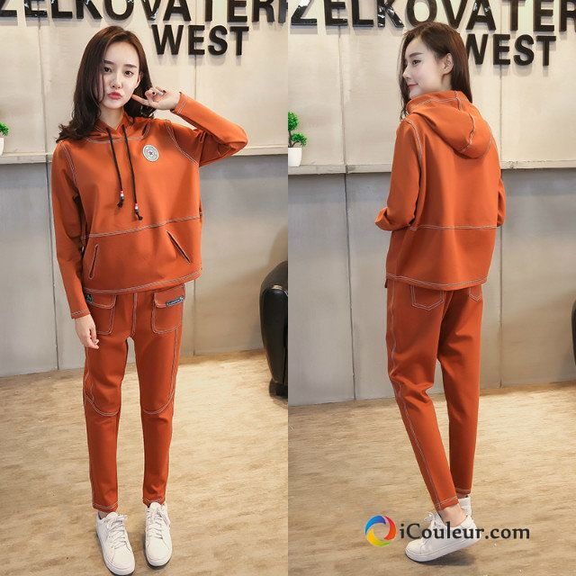 Sweat À Capuche Capuche Pullovers Ensemble Tendance Hoodies Décontractée Mode Femme Orange