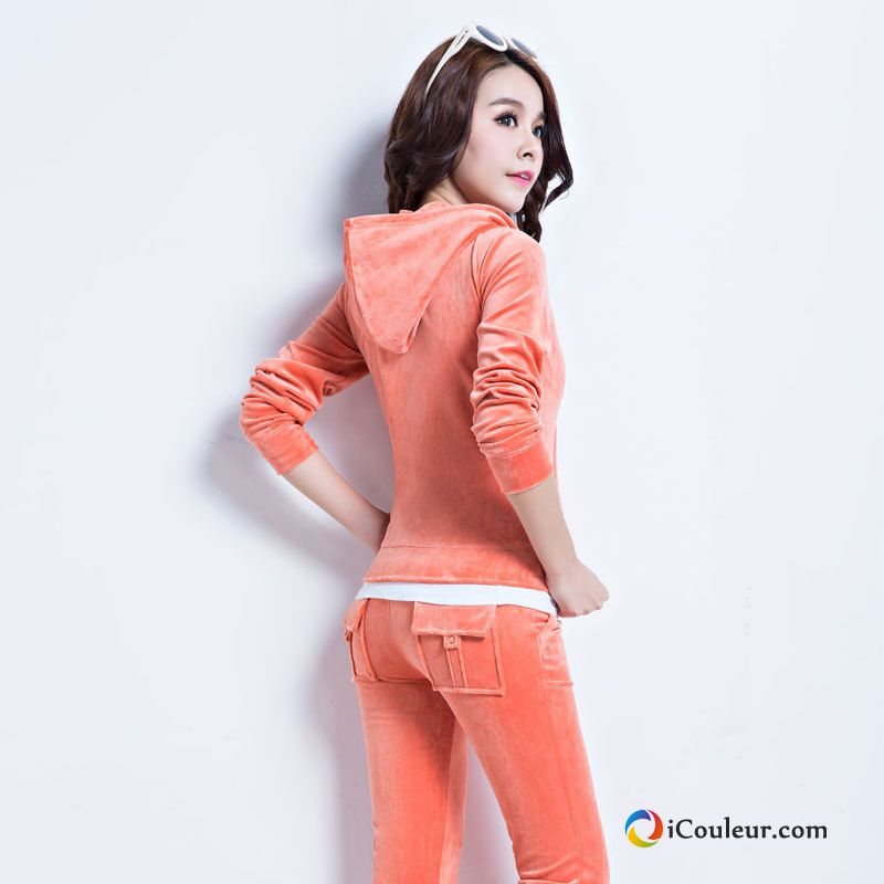 Sweat À Capuche Femme Mince Printemps Capuche Velours Décontractée Hoodies Orange