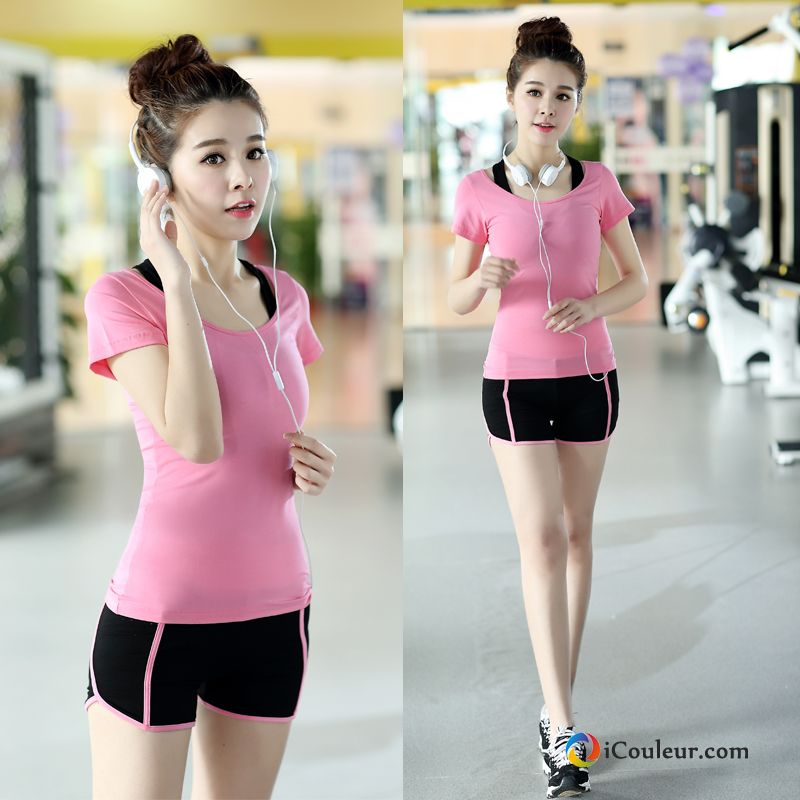 Vêtement De Sport Aptitude Sweatshirt Courte Short Running Slim Femme Rose